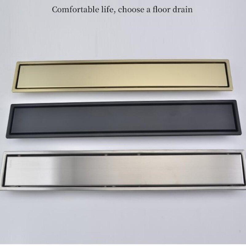 Brush gold Floor Drain 304 SUS floor Conceal drain long Linear drainage Channel drain for hotel bathroom kitchen floor Black